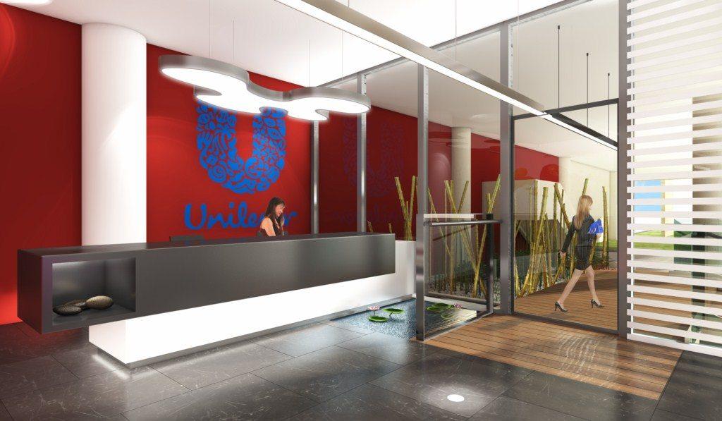 כניסה ראשית מעוצבת במשרדי יוניליבר